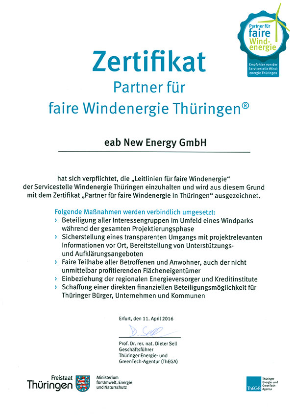 eab New Energy GmbH - Certificates / Awards